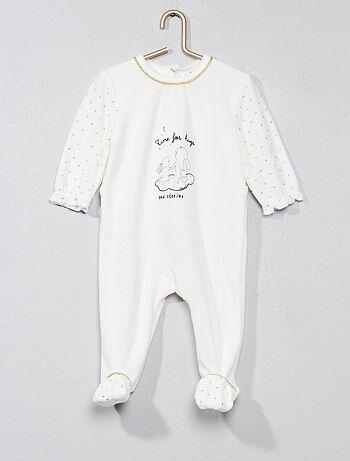 283643687 Menina 0-36 meses - Pijama estampado de veludo - Kiabi