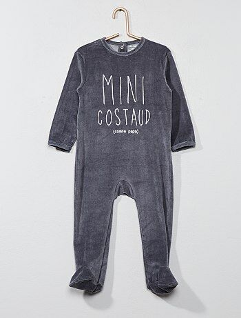 Menino 0-36 meses - Pijama estampado de veludo - Kiabi