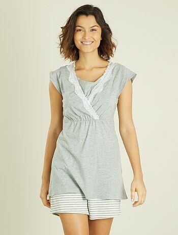 Pijama pré-mamã com soutien de amamentação integrado - Kiabi