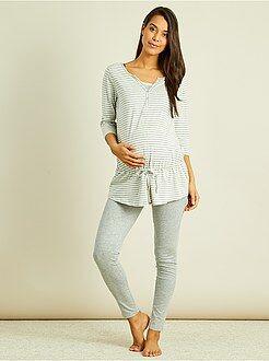Pijama pré-mamã com soutien de amamentação integrado