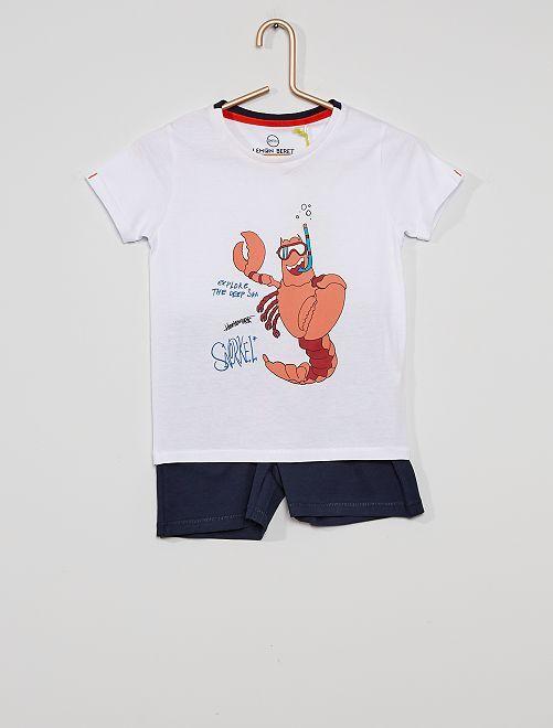 Pijama t-shirt e calções                             Branco