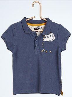 T-shirt - Polo em piqué de algodão emblema 'dinossauro'