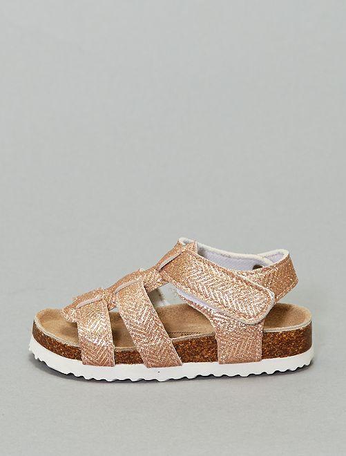 Sandálias com motivo aos ziguezagues iridescentes                             Bronze