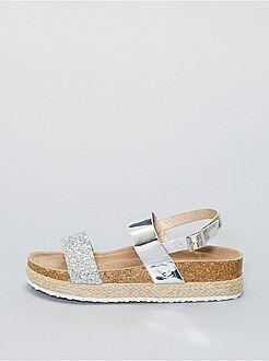 Sandálias compensadas em ouropel - Kiabi