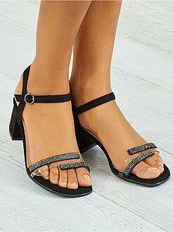 Sandálias de salto alto - Sandálias de tecido com salto quadrado - Kiabi