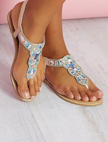 Sandálias em pele sintética com detalhes na tira - Kiabi