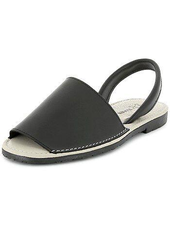 Sandálias menorquinas em pele - Kiabi