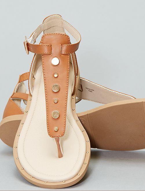 Sandálias rasas com rebites                                         Marrom Mulher do 34 até 48