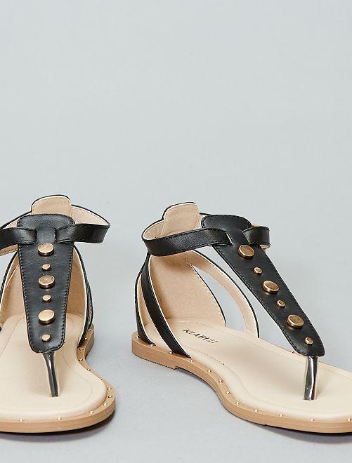 Sandálias rasas com rebites                                         Preto Mulher do 34 até 48