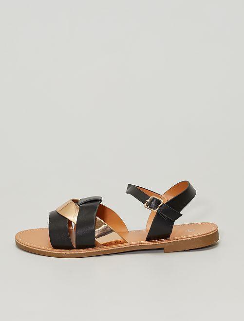 Sandálias rasas com tira acobreada                             Preto