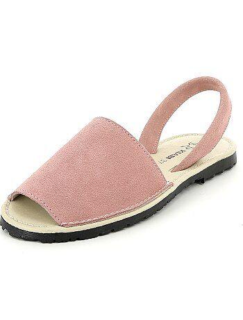 Sandálias rasas em couro - Kiabi