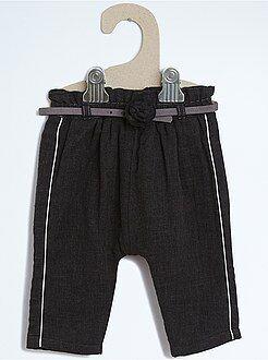 Calças, jeans, legging - Sarouel com efeito de lã forrado com cinto