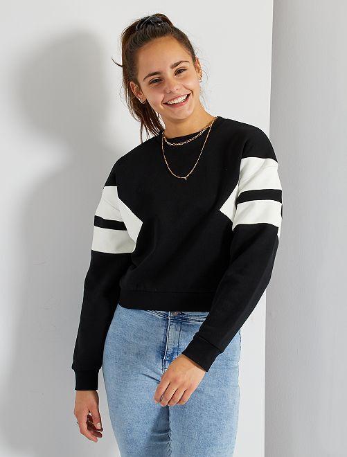 Sweatshirt bicolor                             Preto