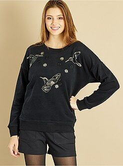 Sweat - Sweatshirt bordada com lantejoulas pássaros e flores - Kiabi