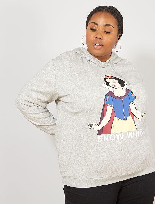 Sweatshirt com capuz 'Branca de Neve'                                                                                                                             CINZA