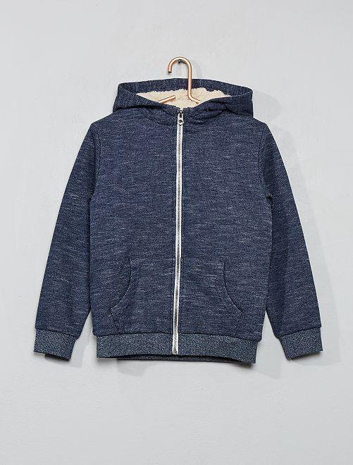 Sweatshirt com capuz com fecho                                                                             AZUL