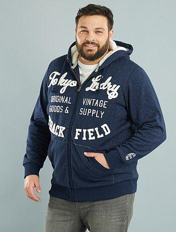Sweatshirt com capuz com fecho com interior forrado - Kiabi