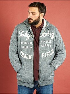 Sweat - Sweatshirt com capuz com fecho com interior forrado - Kiabi