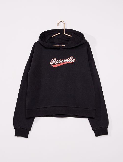 Sweatshirt com capuz de conceção ecológica                                                                                             PRETO