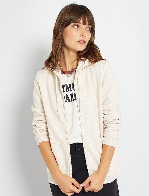 Sweatshirt com fecho                                                                 BEGE