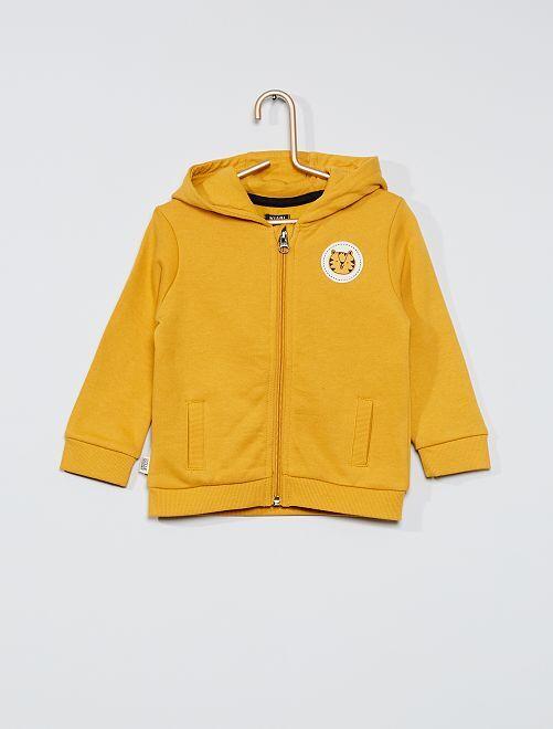 Sweatshirt com fecho de conceção ecológica                             AMARELO