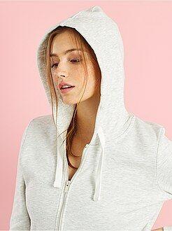 Sweat - Sweatshirt com fecho e capuz em moletão leve - Kiabi