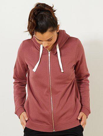Sweatshirt com fecho e capuz em moletão leve - Kiabi