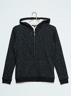 Sweat - Sweatshirt com fecho e capuz forrado em malha de pelúcia