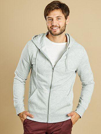 Sweatshirt com fecho e capuz - Kiabi