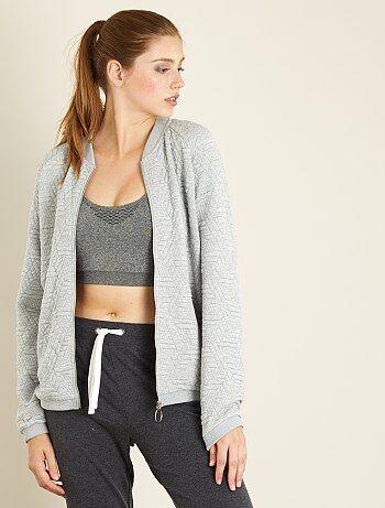 Sweatshirt com fecho em malha texturada - Kiabi