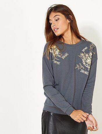 Sweatshirt com pérolas e lantejoulas - Kiabi