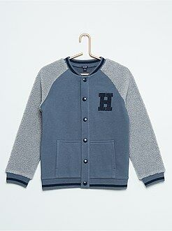 Camisola, casaco - Sweatshirt de manga comprida em sherpa - Kiabi