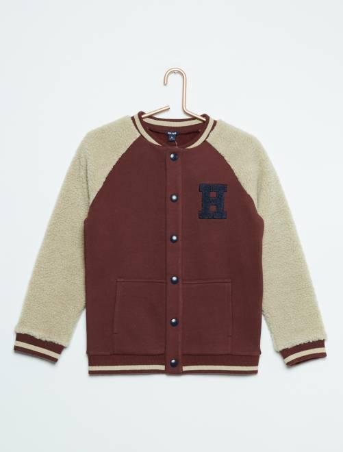 Sweatshirt de manga comprida em sherpa marron Menino 3-12 anos