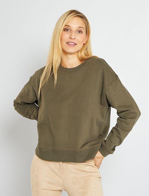 Sweatshirt em moletão cardado quente                                                                             CAQUI