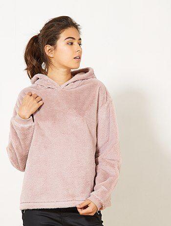 Sweatshirt lisa com imitação de pele - Kiabi