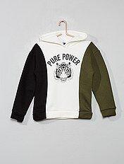Casaco sweatshirt com fecho em moletão tricolor Menino 3 12