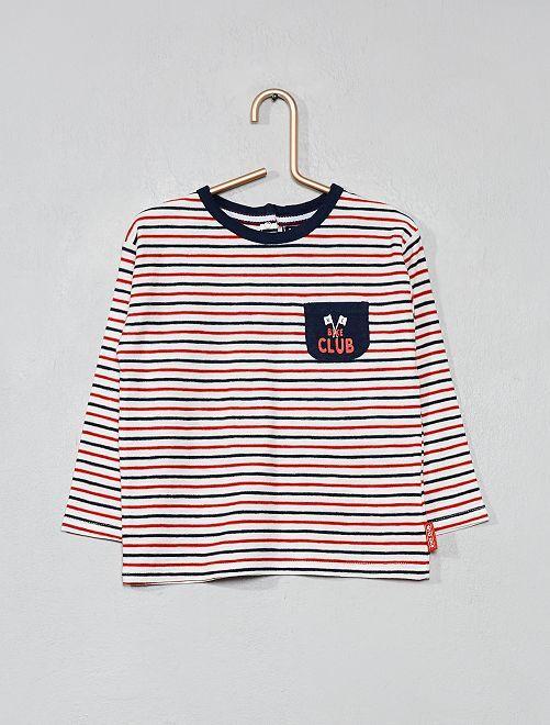 T-shirt à marinheiro tricolor                             Branco Menino 0-36 meses