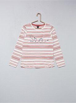 T-shirt às riscas bordada com cordão - Kiabi