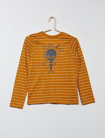 T-shirt às riscas estampada - Kiabi