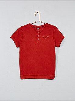 T-shirt bordada com gola tunisiana - Kiabi