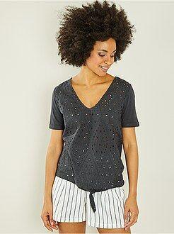 Mulher do 34 até 48 - T-shirt bordada de atar - Kiabi