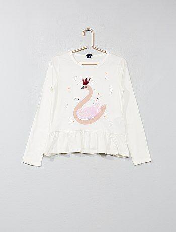T-shirt com aba 'cisne' - Kiabi