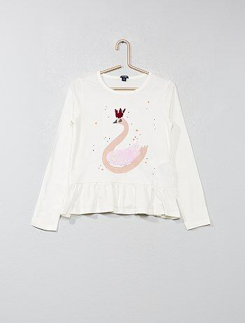 Menina 3-12 anos - T-shirt com aba 'cisne' - Kiabi