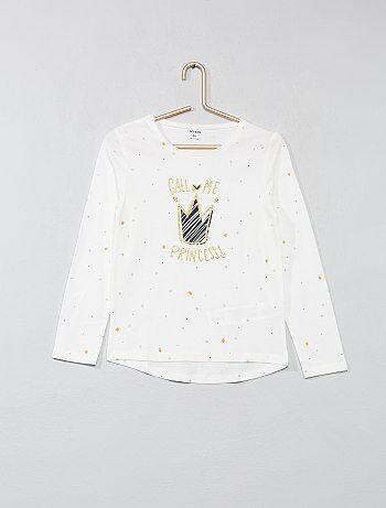 Menina 3-12 anos - T-shirt com brilhantes - Kiabi
