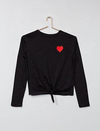 Menina 10-18 anos - T-shirt com coração bordado - Kiabi