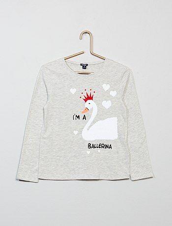 T-shirt com estampado e lantejoulas reversíveis - Kiabi