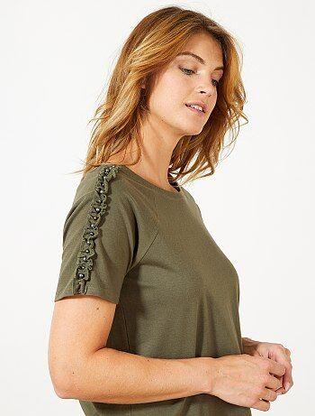 Mulher do 34 até 48 - T-shirt com folhos e pérolas - Kiabi