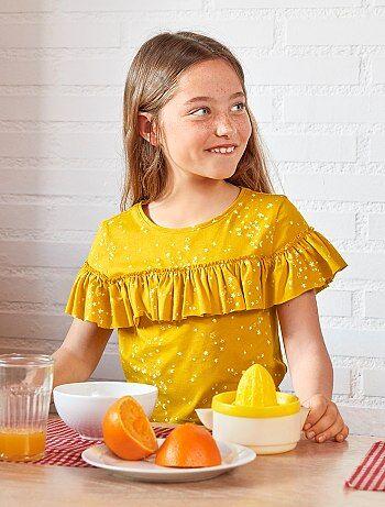T-shirt com folhos em algodão - Kiabi