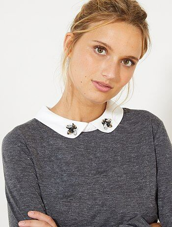 T-shirt com gola claudine - Kiabi