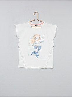 T-shirt com lantejoulas e folhos - Kiabi
